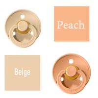 Bibs Beige/Peach Knupītis izgatavots no 100% dabīgas gumijas - ķirša forma 0-6 mēneši (2 gab.)