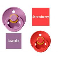 Bibs Strawberry/Lavender Knupītis izgatavots no 100% dabīgas gumijas - ķirša forma 0-6 mēneši (2 gab.)