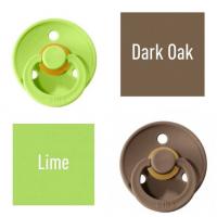 Bibs Lime/Dark Oak Knupītis izgatavots no 100% dabīgas gumijas - ķirša forma 0-6 mēneši (2 gab.)