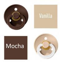 Bibs Vanilla/Mocha Knupītis izgatavots no 100% dabīgas gumijas - ķirša forma 6-18 mēneši (2 gab.)