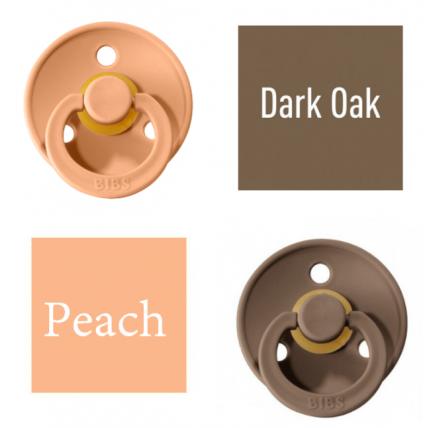 Bibs Dark Oak/Peach Knupītis izgatavots no 100% dabīgas gumijas - ķirša forma 0-6 mēneši (2 gab.)
