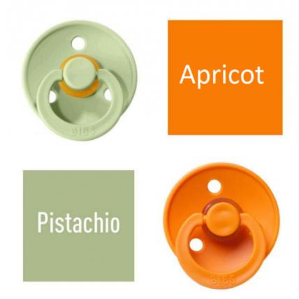 Bibs Pistachio/Apricot Knupītis izgatavots no 100% dabīgas gumijas - ķirša forma 6-18 mēneši (2 gab.)