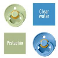 Bibs Pistachio/Clear water Knupītis izgatavots no 100% dabīgas gumijas - ķirša forma 6-18 mēneši (2 gab.)