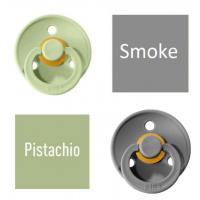 Bibs Pistachio/Smoke Knupītis izgatavots no 100% dabīgas gumijas - ķirša forma 6-18 mēneši (2 gab.)