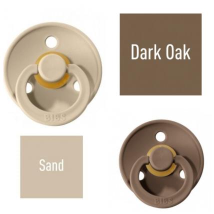 Bibs Dark Oak/Sand Knupītis izgatavots no 100% dabīgas gumijas - ķirša forma 0-6 mēneši (2 gab.)