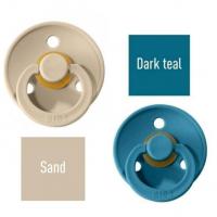 Bibs Sand/Dark teal Knupītis izgatavots no 100% dabīgas gumijas - ķirša forma 6-18 mēneši (2 gab.)