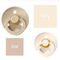 Bibs Ivory/Sand Knupītis izgatavots no 100% dabīgas gumijas - ķirša forma 0-6 mēneši (2 gab.)
