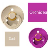 Bibs Sand/Orchidea Knupītis izgatavots no 100% dabīgas gumijas - ķirša forma 6-18 mēneši (2 gab.)