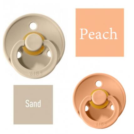 Bibs Sand/Peach Knupītis izgatavots no 100% dabīgas gumijas - ķirša forma 0-6 mēneši (2 gab.)