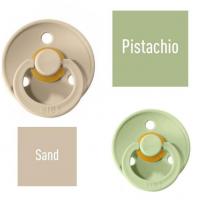 Bibs Pistachio/Sand Knupītis izgatavots no 100% dabīgas gumijas - ķirša forma 6-18 mēneši (2 gab.)