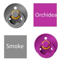 Bibs Smoke/Orchidea Knupītis izgatavots no 100% dabīgas gumijas - ķirša forma 6-18 mēneši (2 gab.)