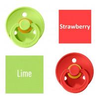 Bibs Lime/Strawberry Knupītis izgatavots no 100% dabīgas gumijas - ķirša forma 6-18 mēneši (2 gab.)