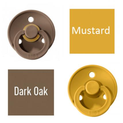 Bibs Dark Oak/Mustard Knupītis izgatavots no 100% dabīgas gumijas - ķirša forma 6-18 mēneši (2 gab.)