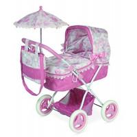 DeCuevas 850210 Daniela Leļļu rati ar kulbiņu un lietussargu