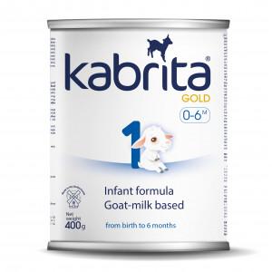 Kabrita Gold 1 400 mākslīgais piena maisījums uz kazas piena pamata komfortablai gremošanai zīdaiņiem vecumā no 0 līdz 6 mēnešu vecumam