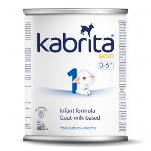 Kabrita Gold 1 800 mākslīgais piena maisījums uz kazas piena pamata komfortablai gremošanai zīdaiņiem vecumā no 0 līdz 6 mēnešu vecumam