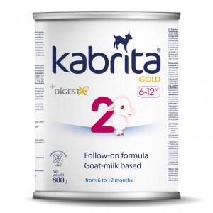 Kabrita Gold 2 800 nākamais mākslīgais piena maisījums uz kazas piena pamata komfortablai gremošanai zīdaiņiem vecumā no 6 līdz 12 mēnešu vecumam