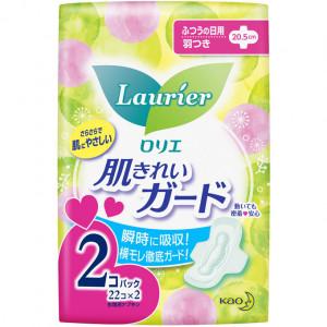 Laurier higiēniskās paketes ar spārniņiem mēreniem izdalījumiem 20,5cm 44(22x2) gab