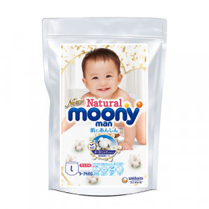 Autiņbiksītes Moony Natural L 9-14kg paraugs 3gab