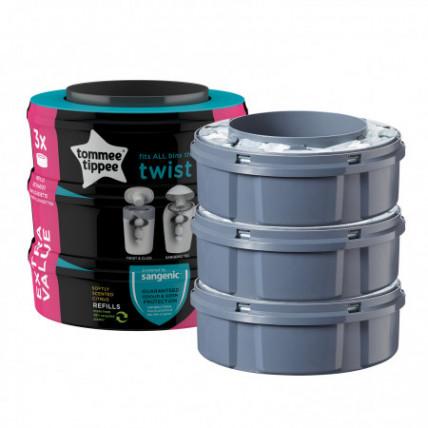 Tommee Tippee Sangenic Twist Refil Trīs kasetes netīro autiņbiksīšu konteinerim 3 gab.