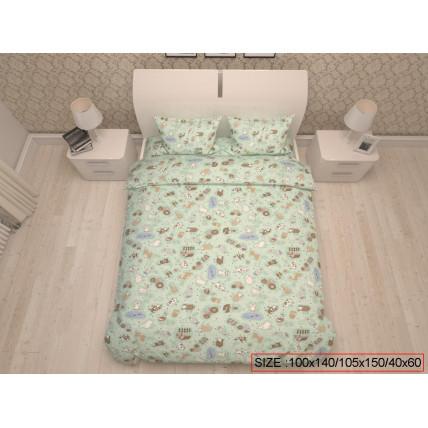 Bērnu gulta veļas komplekts 3-dalīgs, HAPPY FARM 100x140/105x150/40x60cm