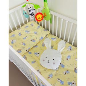 Bērnu gultas veļas komplekts 2-dalīgs, BEARS 100x135/40x60cm