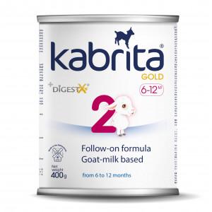 Kabrita Gold 2 400 nākamais mākslīgais piena maisījums uz kazas piena pamata komfortablai gremošanai zīdaiņiem vecumā no 6 līdz 12 mēnešu vecumam