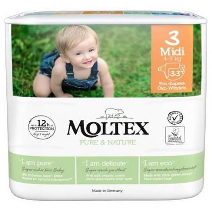 Autiņbiksītes Moltex Pure & Nature 3 Midi 4-9kg 33gab