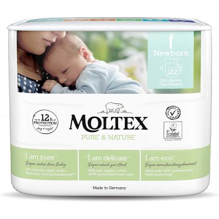 Autiņbiksītes Moltex Pure & Nature 1 Newborn 2-4kg 22gab