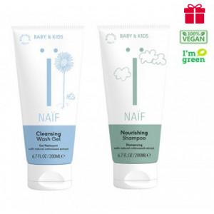 Naïf Baby & Kids Care barojošs bērnu šampūns 200ml+Naïf Baby & Kids attīrošs gels bērniem 200ml