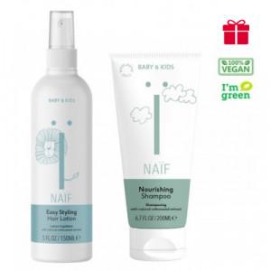 Naïf Baby & Kids Care barojošs bērnu šampūns 200ml +  Naïf Baby & Kids mīkstinošs losjons matiem 150ml