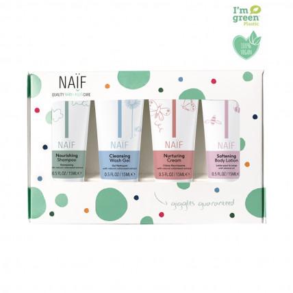 Naïf Baby & Kids mini komplekts - 4 produkti bezrūpīgam ceļojumam