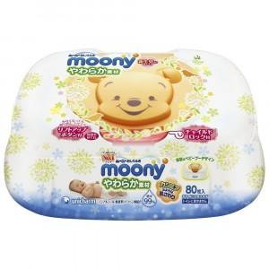 Japānas mitrās bērnu salvetes Moony, 80gab. + plastikāta kastīte