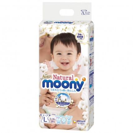 Autiņbiksītes Moony Natural L 9-14kg 38gab
